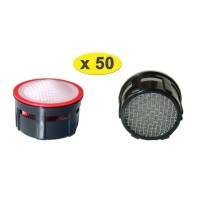 Lot de 50 Mousseurs aérateur grille inox - Recharge 22/24x100 - 4,5 litres/min. - Aéré