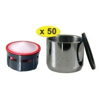 Lot de 50 Mousseurs saérateur grille inox - Femelle F22x100 - 4,5 litres/min. - Aéré