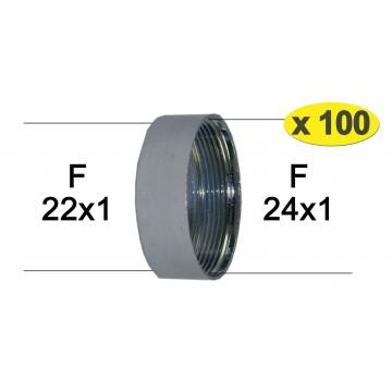 100 x Adaptateurs bague Robinet - Laiton Chromé - F24x100 à F22x100