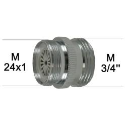 """Adaptateur Robinet - Laiton Chromé - M24x100 à M3/4"""" + Brise-jet étoile + joint NBR 24x1"""