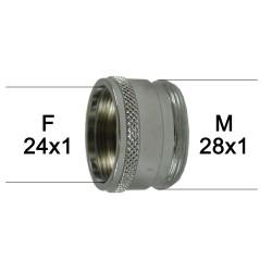 Adaptateur Robinet - Laiton Chromé - F24x100 à M28x100 + joint NBR 24x1