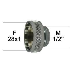 Adaptateur Robinet - Laiton Chromé - F28x100 à M1/2'' + joint NBR 28x1