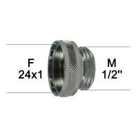 Adaptateur Robinet - Laiton Chromé - F24x100 à M1/2'' - Ecoperl
