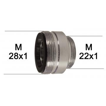 Adaptateur Robinet - Laiton Chromé - M28x100 à M22x100 + joint NBR 28x1