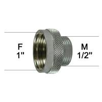 Adaptateur raccord Laiton - Moleté - F26x34 (1'') à M15x21 (1/2'') - Ecoperl