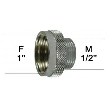 Adaptateur raccord Laiton - Moleté - F26x34 (1'') à M15x21 (1/2'')