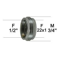 Adaptateur raccord Laiton - F15x21 (1/2'') à M20x27 (3/4'') + F22x100 - Ecoperl