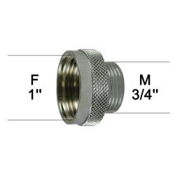 Adaptateur raccord Laiton - Moleté - F26x34 (1'') à M20x27 (3/4'')