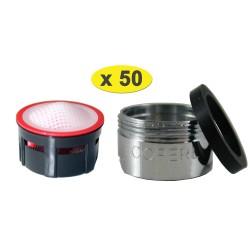 Lot de 50 Mousseurs aérateur 4,5 litres - M24x100 - Eco 70% - Bague Mâle - Grille inox