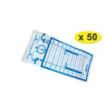 Lot de 50 Sacs débimètre souple pour douche et robinet - 1 à 18 litres/min.