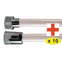 """Lot de 10 Flexibles PVC Antibactérien W270 """" HYGIFLEX """"- Ecrous Laiton - 1,75 m"""