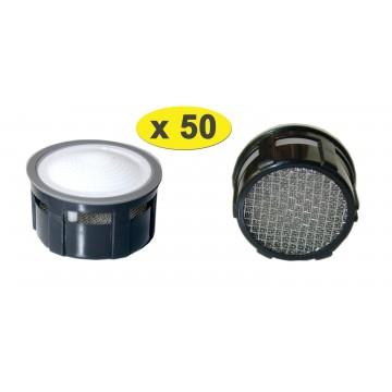 Lot de 50 Mousseurs aérateur 10 litres F22/M24 - Eco 33% - Recharge - Grille inox