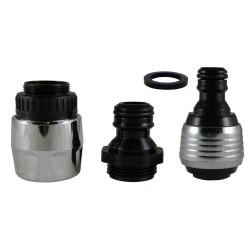 Coupleur Raccord Rapide + DUOJET 6 litres/min. + Connecteur flexible 1/2' - Chrome/Noir