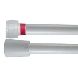 Flexible PVC Lisse 1.50 m - Blanc Collerette Rouge - Usage Unique - Qualité Alimentaire - Ecrous ABS blancs