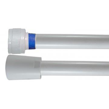 Flexible PVC Lisse 1.50 m - Blanc Collerette Bleue - Usage Unique - Qualité Alimentaire - Ecrous ABS blancs
