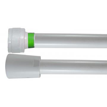 Flexible PVC Lisse 2.00 m - Blanc Collerette Verte - Usage Unique - Qualité Alimentaire - Ecrous ABS blancs