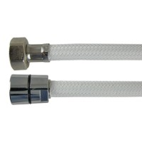 "Flexible Haute Pression "" PRESFLEX "" - Tressé Blanc Nylon Chevron - Ecrous Laiton - 1,50 m"