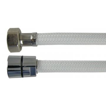 "Flexible Haute Pression 1,50 m "" PRESFLEX "" - Tressé Blanc Nylon Chevron - Ecrous Laiton"