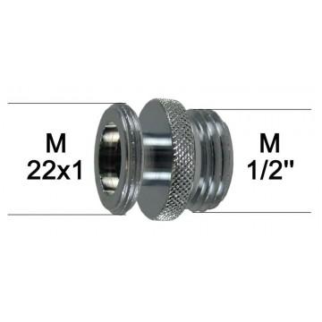 """Adaptateur Robinet - Laiton Chromé - M1/2"""" à M22x100 - épaulement + joint NBR"""