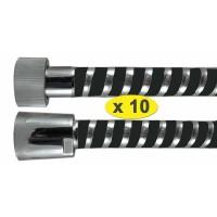 """Lot de 10 Flexibles douche bicolor 1.50 m """" SCROLEX """" Noir - Ecrous Laiton/ABS"""