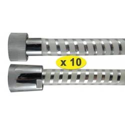 """Lot de 10 Flexibles douche bicolor 1.50 m """" SCROLEX """" Blanc - Ecrous Laiton/ABS"""
