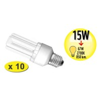Lot de 10 Ampoules Fluocompacte STICK - Culot E27 - 15W Equivalence 67W - 2700K - A+