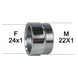 Adaptateur Robinet - Laiton Chromé - F24x100 à M22x100 + joint NBR 24x1