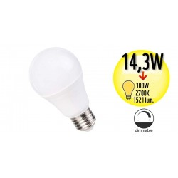 Ampoule à LED Globe - Culot E27 - 14,3W Equivalence 100W Dimmable - 2700K - A+