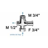 Inverseur pour colonne de douche - F3/4''+M3/4''+M1/2'' - Laiton chromé