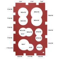 """Plaque de gabarit - Bagues 16x100 à 28x100 - Filetages raccords 3/8"""" à 3/4"""""""