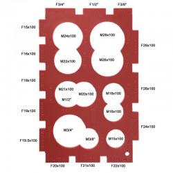 """Plaque de gabarits x 26 - Bagues 16x100 à 28x100 - Filetages raccords 3/8"""" à 3/4"""""""