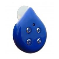 Grand minuteur douche à 4 programmations en forme de goutte à ventouse - bleu